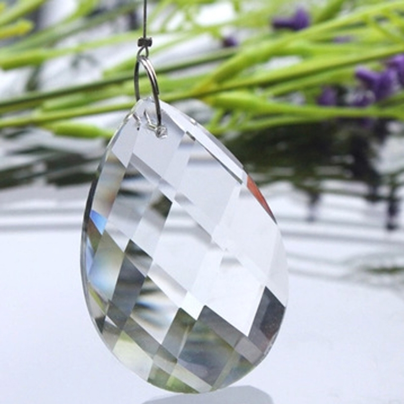 1pc Grid Clear Chandelier Glass Lamp Prisms Parts Hanging Drops Pendants 38mm
