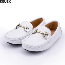 цена на New Boys Leather Shoes Genuine Leather Spring/Autumn Children Single Shoes Student Full Grain Leather Loafers Kids Flats 02