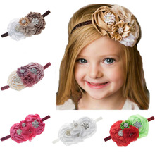 цены Yundfly Vintage Girls Elastic Rose Flower Headband Kids Hairband Chiffon Ribbon Flower Headwear Children Hair Accessories
