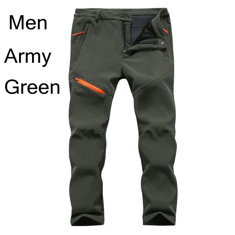 New Winter Autumn Thick Fleece Warm Pants Men Army Green Waterproof Shark Skin Quick Dry Casual Softshell Pants