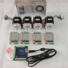 Корабль из ЕС, mach3 CNC USB 4 оси комплект, 4 шт. TB6600 Драйвер+ USB шаговый мотор контроллер+ 4 шт. nema23 270oz-in мотор+ блок питания