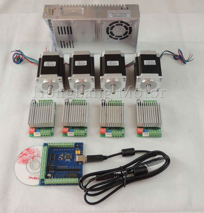 Ship from EU, mach3 CNC USB 4 Axis Kit, 4pcs TB6600 driver+USB stepper motor controller+4pcs nema23 270oz-in motor+power supply