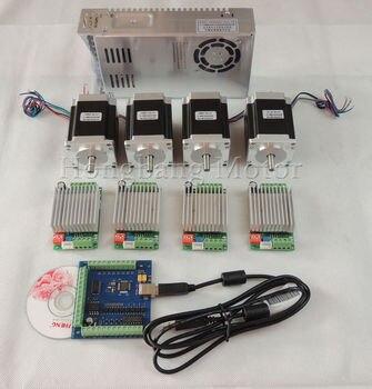 Mach3 CNC USB 4 eje de 4 unids TB6600 conductor + USB motor paso a paso controlador de tarjeta de 100 kHz + 4 unids nema23 270oz-in motor + fuente de alimentación