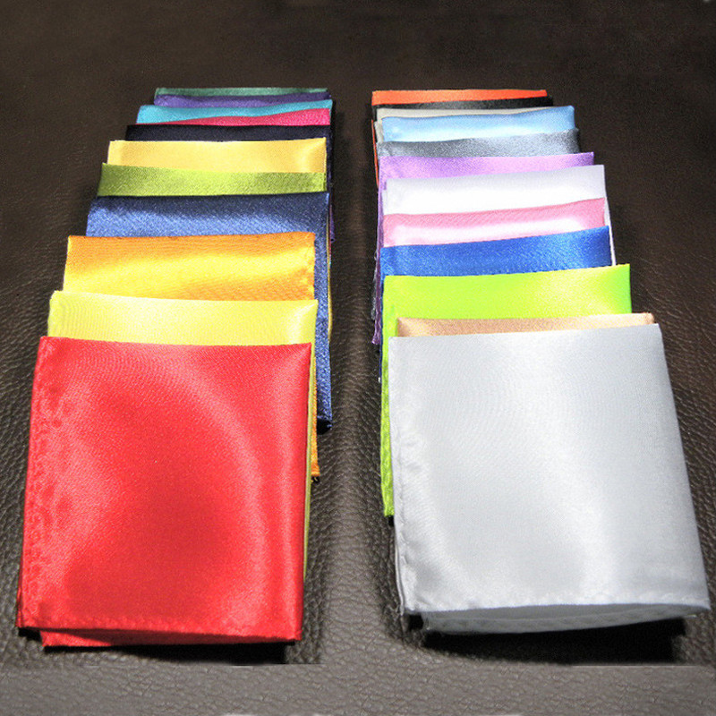 5PCS/LOT 25 Colors Mans Suit Pocket Square Small Solid Color Hanky Wedding Dress Square Handkerchief