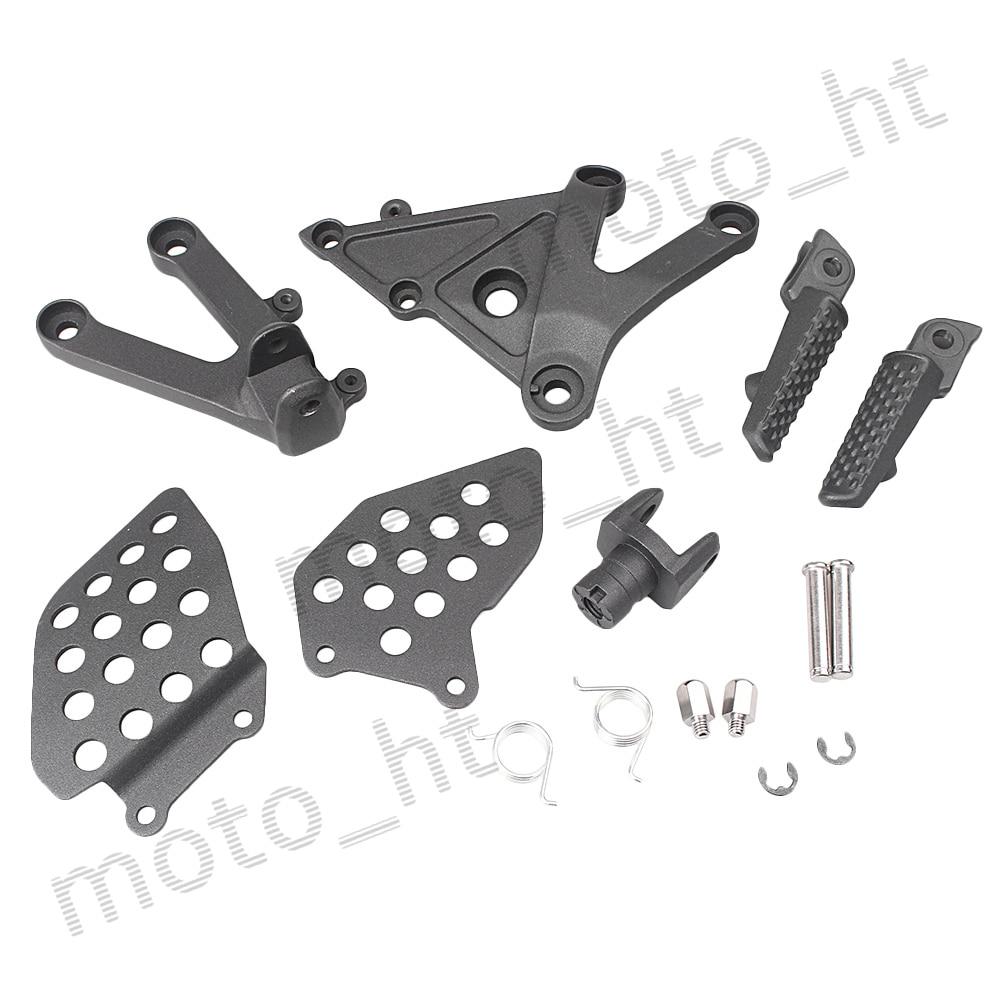 Aluminum Alloy Rider's Front Foot Pegs Footrest Brackets For Honda CBR600RR F5 2003 2004 2005 2006 Black