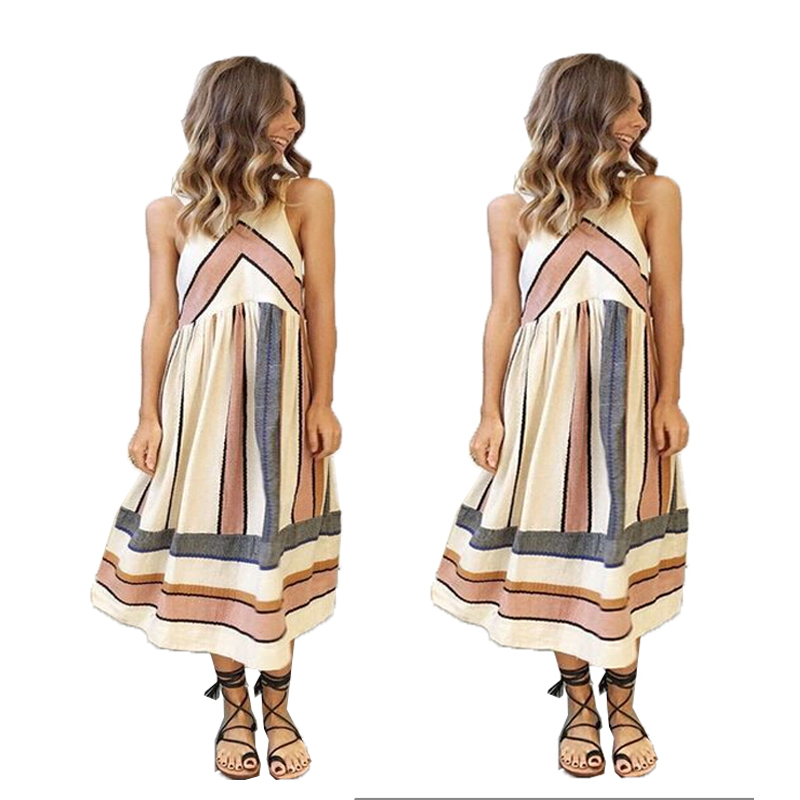 Vintage Women Lady Pattern Halter Summer Dress Vestidos Clothing Sleeveless Casual Party Dress 2017 New Arrive Sundress