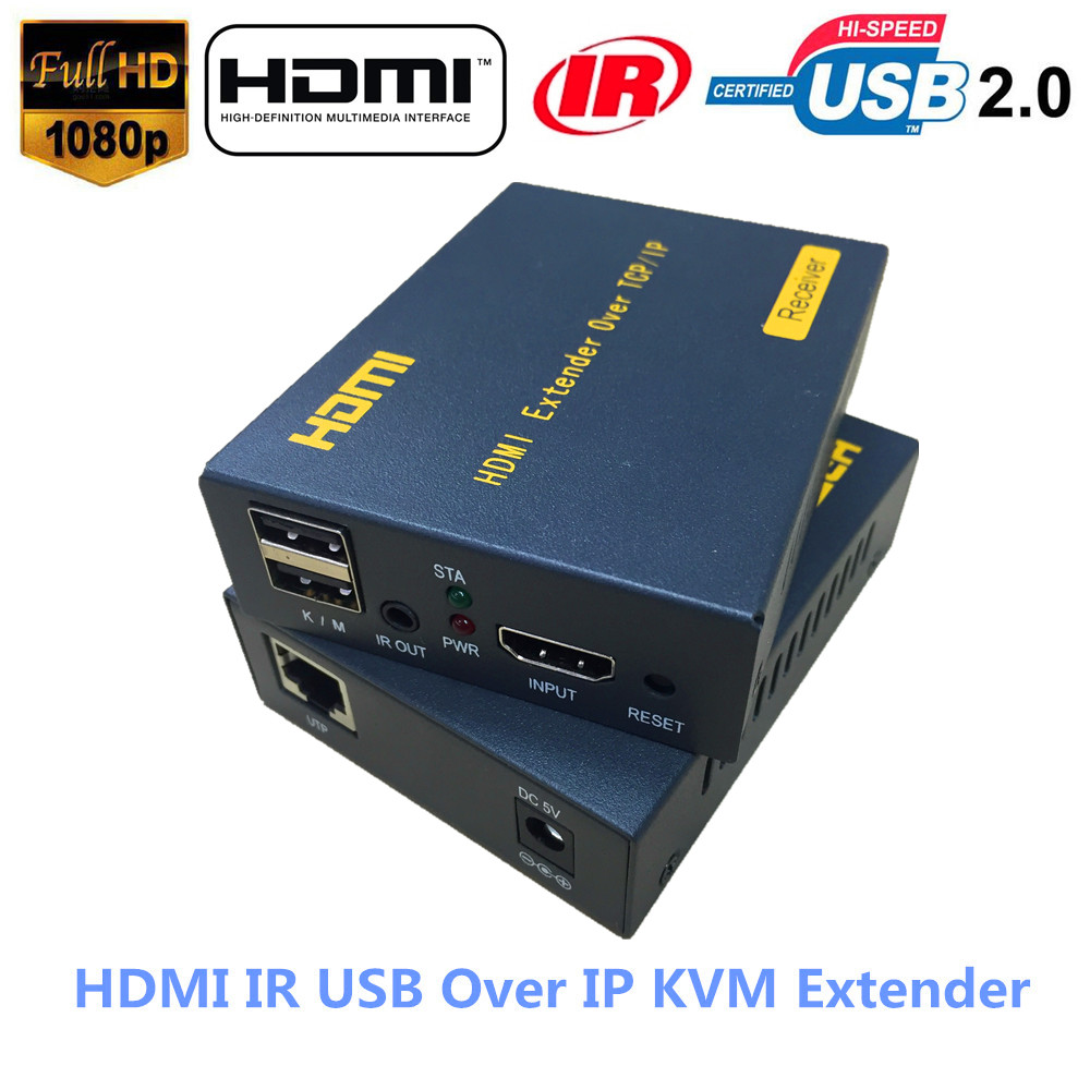 ZY DT103KM 500ft 20 60 KHz IR HDMI USB Over IP KVM Extender 1080P USB HDMI