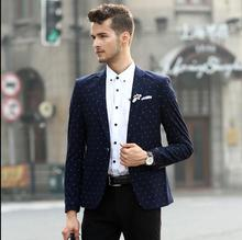2015 New spring and autumn Fashion polka dot informal go well with males slim blazer  long-sleeve high males's clothes  Costumes Nightclubs