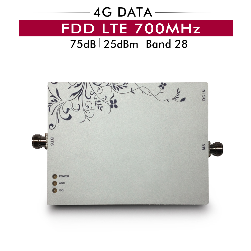 75dB Gain AGC MGC B28 LTE 700mhz Mobile Signal Booster 4G FDD LTE 700 Band 28