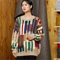 100% hand made pure wool Oneck knit women fashion irregular contrast color vertical striped loose pullover sweater customized