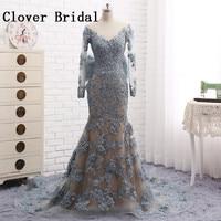 Mermaid Evening Dress Grey Lace Backless Vestido De Festa Longo Para Casamento Floor Length Abiye Gece