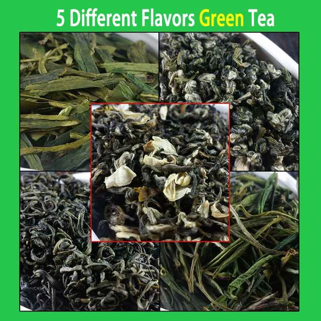 5 Different Flavors Green Tea Organic Food Include Dragon Well, Maojian, Maofeng, Jasmine Tea 46g In Total