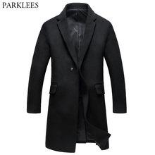 Мужской длинный шерстяной Тренч, новинка, шерстяное и Смешанное зимнее мужское кашемировое пальто, приталенное модное мужское пальто на одной пуговице, 3XL