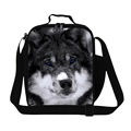 Dispalang thermal insulated animal wolf print pouch cooler lunch bag portable picnic bag lunch container kids lunchbox lancheira