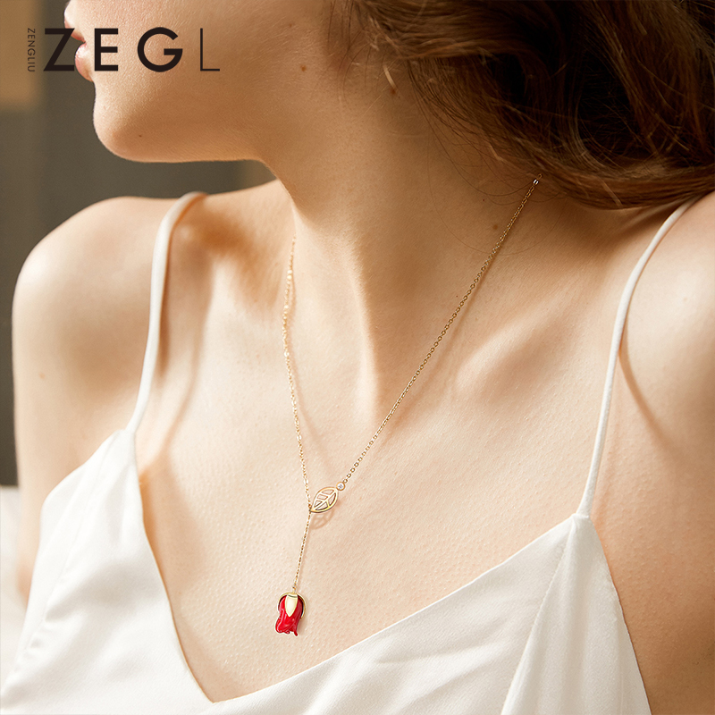 ZEGL 925 pure silver necklace necklace with female rose pendant and clavicle chain for girls birthday