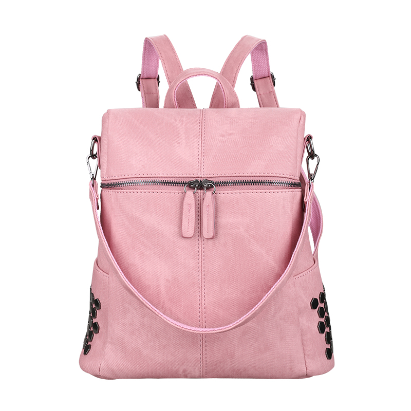 women leather backpack school bags for teenagers girls squined waterproof female preppy style backpacks