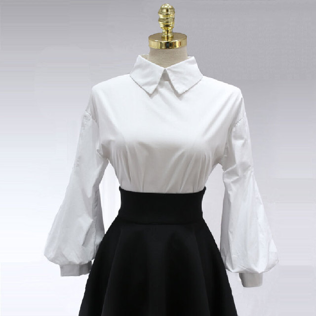 Vintage Lantern Sleeve Shirt Womens 2017 Brand New Single Breasted Buttons Turn-down Collar Loose Cotton Tops Puff White Blouse