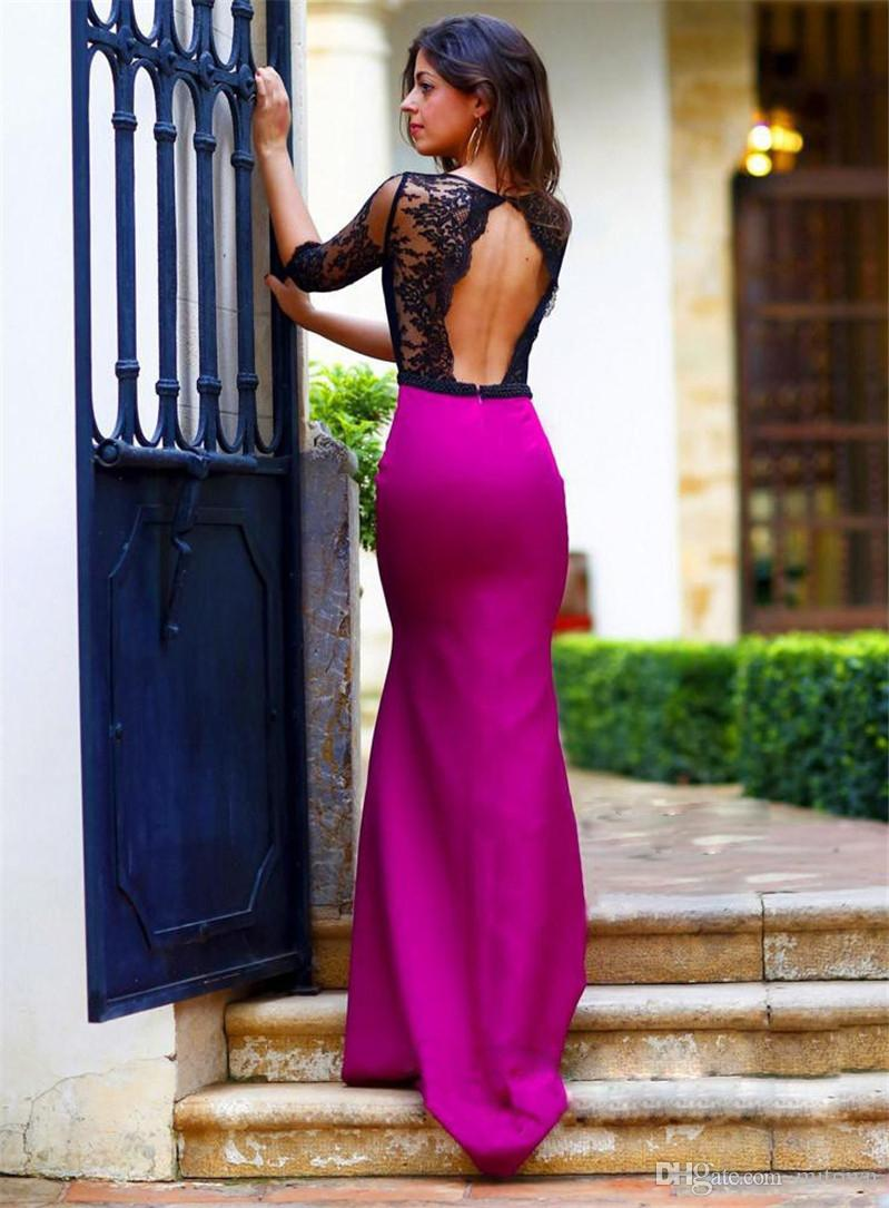 Abendkleid hollywood abendkleider : Abendkleider Dubai Black And Hot Pink Lace Mermaid Evening Dresses ...