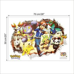 Cartoon Pokemon Go Wall Stickers for Kids Rooms 3d Broken Pikachu Poster Nursery Home Decor Decorative Decal Mural