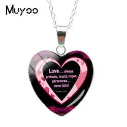 7a4caa450 2019 New Vintage Love Never Fail Bible Verse Quotes Jewelry Silver Heart  Pendants Love God Words