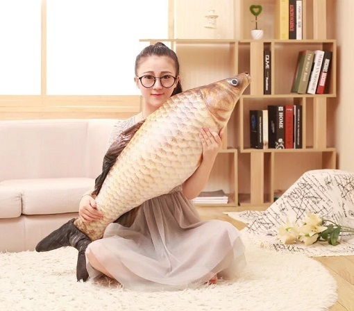 New 3D Simulation Grass Carp Pillow PP Stuffed Plush Animal Fish Toy 75cm About 30in 1pcs Free Shipping Children Birthday Gift