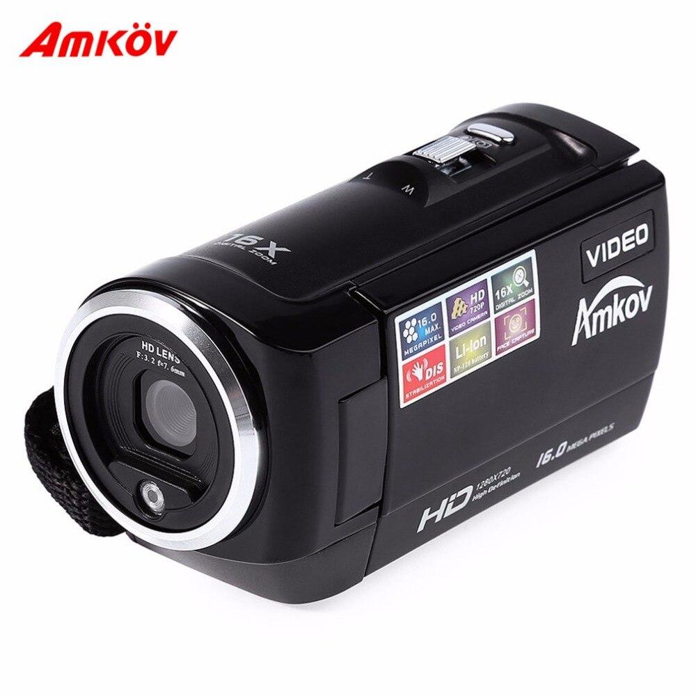 AMKOV appareils photo numériques 2.7 pouces 4:3 écran DV caméra vidéo professionnelle HD720P Max 16MP DIS Capture du visage avec batterie