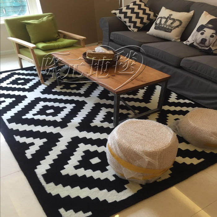 WINLIFE Contracted Europe Type Carpet Of Black And White Stripes Modern Bedroom Living Room Rugs Custom