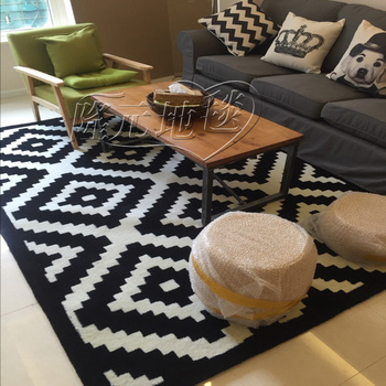 WINLIFE Contracted Europe Type Carpet Of Black And White Stripes, Modern Bedroom Living Room Rugs, Custom Acrylic Carpets.
