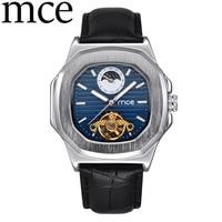 MCE Brand Men's Mechanical Watch Men Fashion Automatic Watch Moon Phase Square Leather Watches Tourbillon Wristwatch Man Clock
