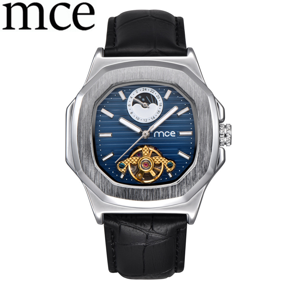 MCE Mechanical Men Watch Men Moon Phase Square Watches 2018 Luxury Brand Women Wristwatch Automatic Tourbillon Genuine Leather mce sports mens watches top brand luxury genuine leather automatic mechanical men watch classic male clocks high quality watch
