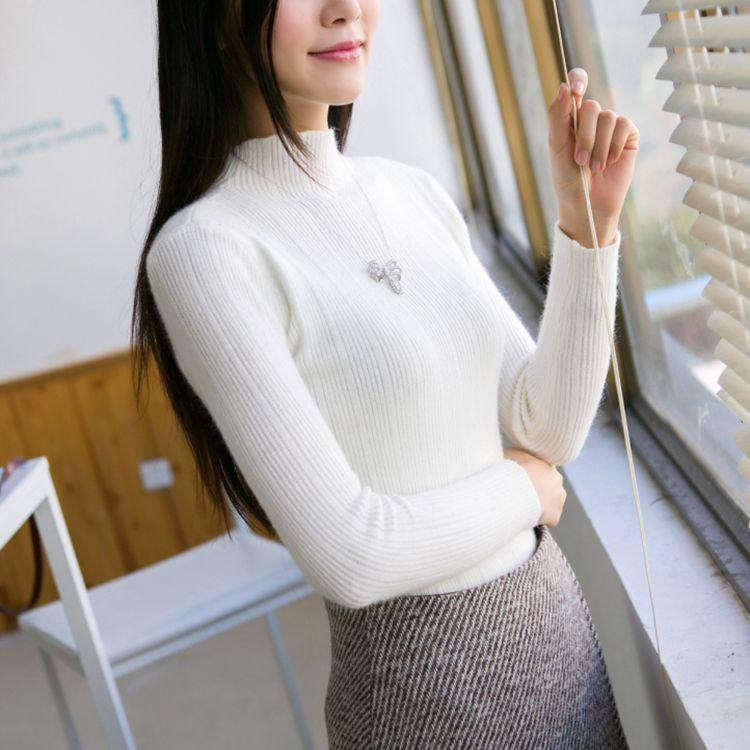 Nueva Corea semi Camisa femenina de manga larga Jersey de Cuello Alto Suéter De