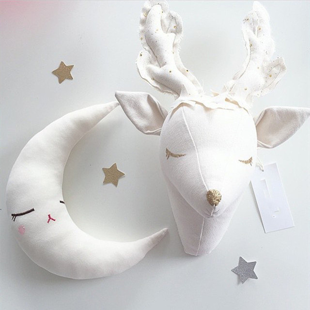 Plush Deer Head Trophy Wall Mount For Nursery