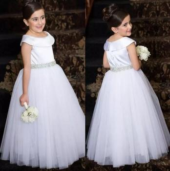 2017 Sweet White Flower Girl Dresses for Wedding Beaded Crystal Ruffles Organza V-Neck Long Pageant Party Dress