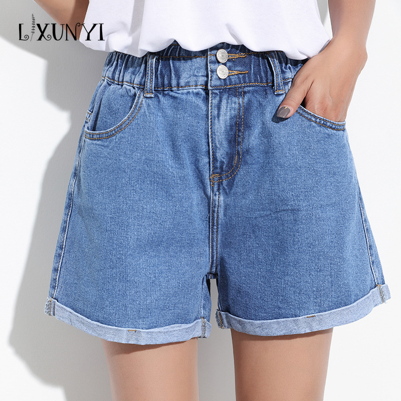 Casual Summer Denim Shorts Women 2017 Elastic High Waist Jean Shorts feminino Thin Elastic Waist Wide Leg Shorts Zippers Buttons