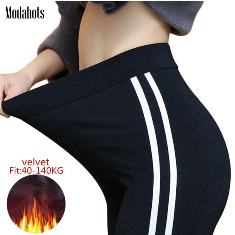 Autumn Winter Women Side Striped Leggings Plus Size Thick Velvet XL- 6XL Big Sizes Large Slim Legging Pants Leggins Black Warm