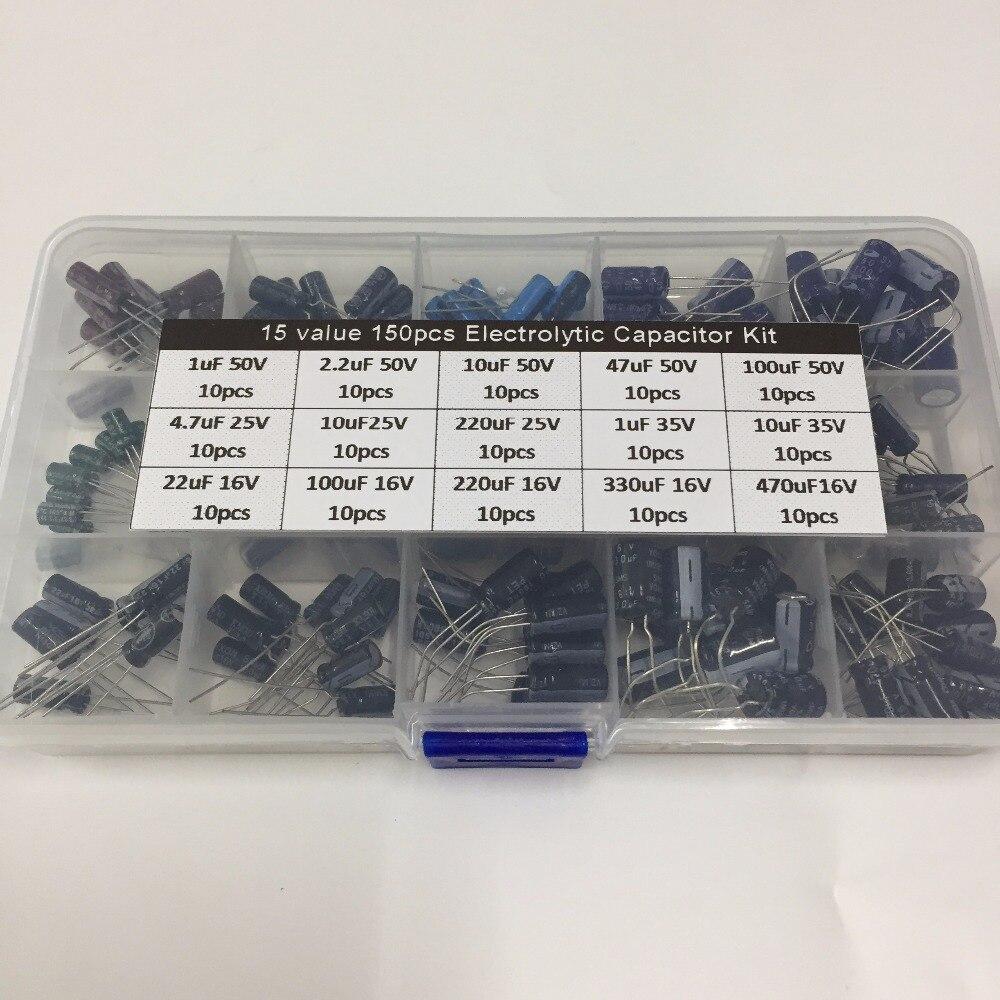 15 valori di 150 pz 16 v/25 v/35 v/50 v (1 uf-470 uf) della miscela kit condensatore Elettrolitico con una scatola di archiviazione gratuito