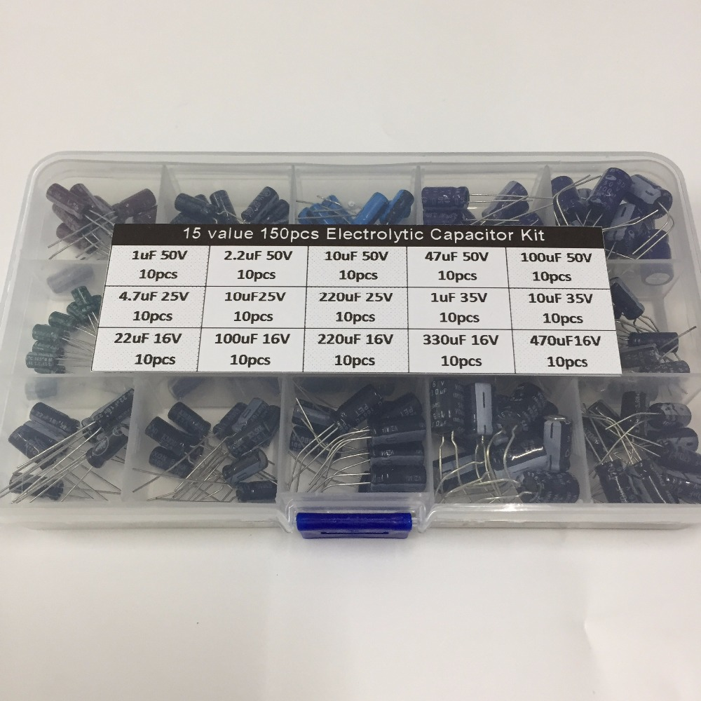 15values 150pcs 16V/25V/35V/50V (1uF to 470uF) mix Electrolytic capacitor kit with a free storage box