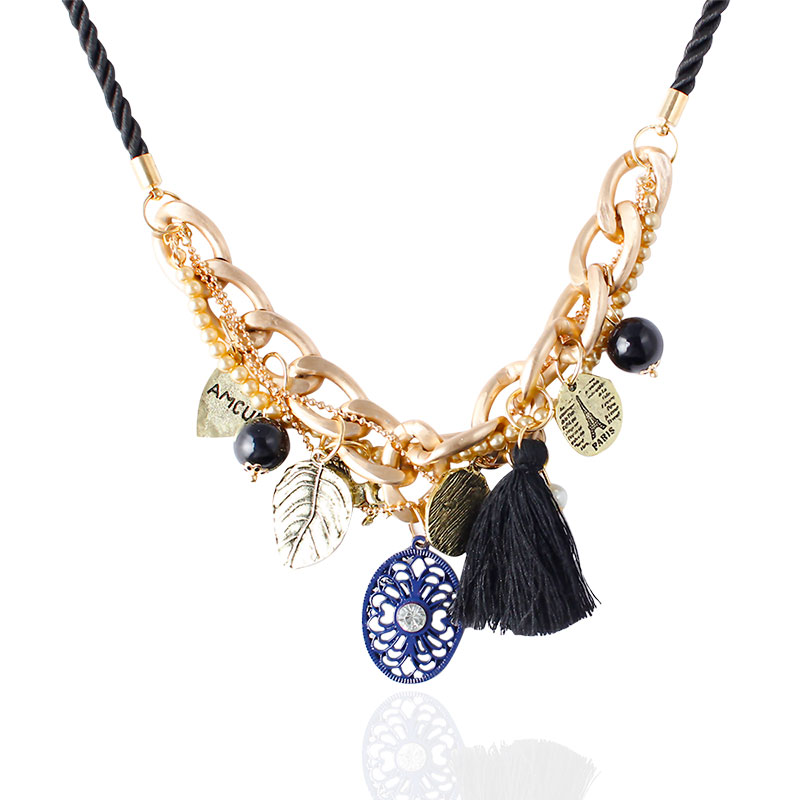F&U Hot Selling Fashion Popular Trendy Style Gold Color Different Charm Pendant Black Tassel Necklace