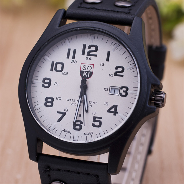 New Fashion Brand Sport Running Military Leather Quartz Watch Wristwatches Gift for Men Male Boy Black Brown OP001