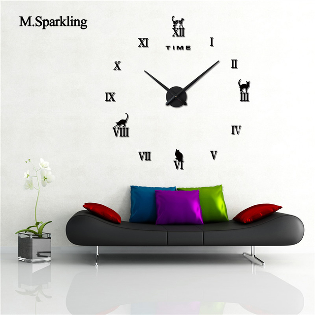 M.Sparkling Living Room Wall Clock Acrylic Animal Design Bedroom Clock DIY  Digital Large Wall