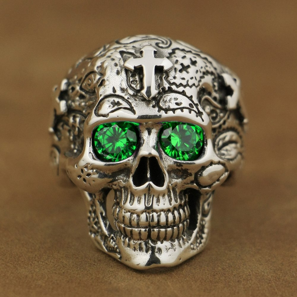 925 Sterling Silver High Detail Skull Cross Green CZ Eyes Mens Biker Ring TA57A  925 Sterling Silver High Detail Skull Cross Green CZ Eyes Mens Biker Ring TA57A