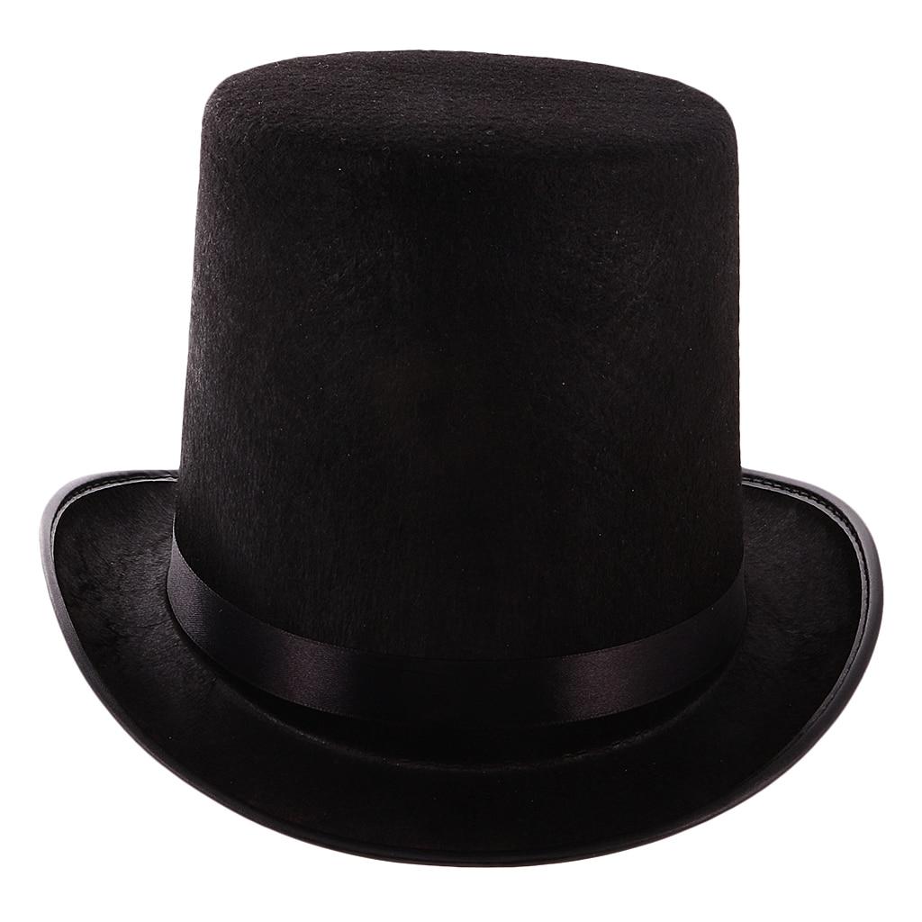 Black Top Hat Magician Hat Costume - Gentlemen Tuxedo Formal Headwear - Ringmaster Hat For Theatrical Plays Musicals