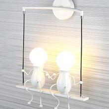 침실 램프 크리 에이 티브 현대 LED 벽 램프 크리 에이 티브 마운트 철 Sconce 커플 벽 조명 침실 복도 벽 빛 아니 전구
