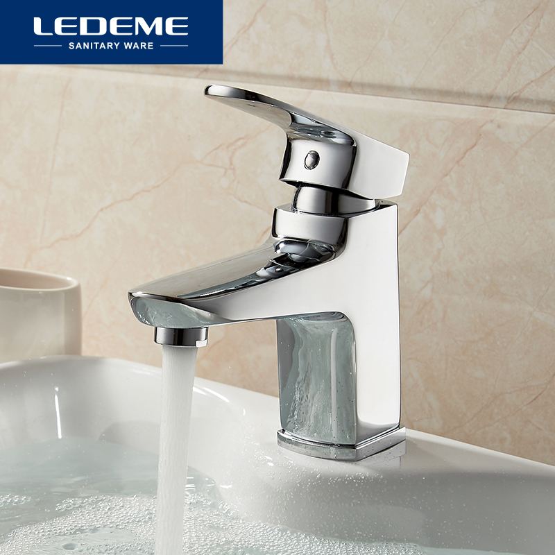LEDEME Basin Faucet Square Designer Brass Vessel Sink Water Chestnut Tap Bathroom Faucet Chrome Modern Waterfall Faucets L1054