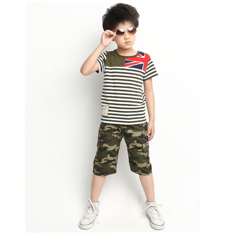 2016 Summer Korean Boy Striped Camouflage Short Sleeved