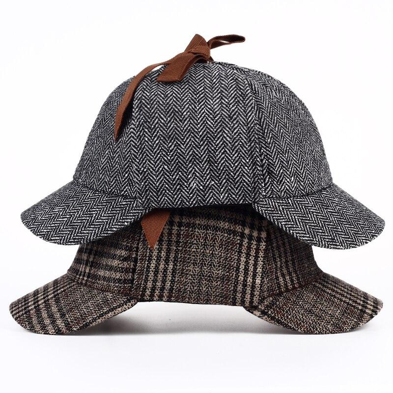 VORON Marca Sherlock Holmes Detetive boina Chapéu Das Mulheres Dos Homens  Unisex Cosplay Acessórios boinas Duas Abas chapéu Deerstalker em Boinas de  ... 5dad123351e