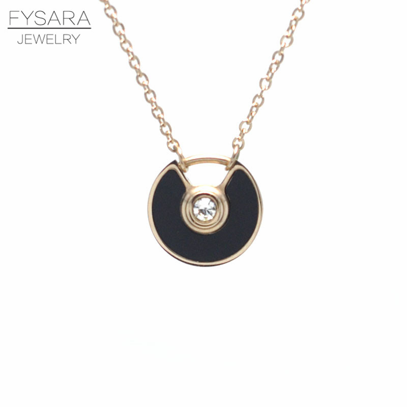 FYSARA Stainles Steel Black/White Shell Circle Saucer Charm Bracelet CZ Crystal Luxury Trendy Chain Link Bracelets For Women 12