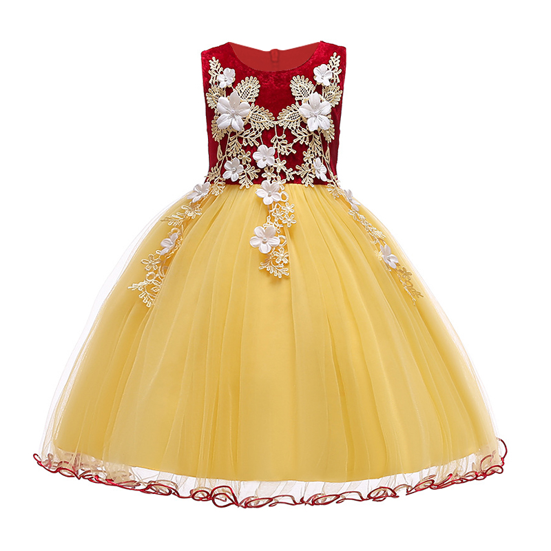 New Fashion Children Wedding party Kids Dresses for girls Appliques Flower girls baby Girls Clothes age 2 -10 T Kids Party Dress