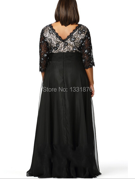2016-Plus-Size-Mother-Of-The-Bride-Dresses-For-Weddings-Simple-Beach-Black-Chiffon-Deep-V (1)