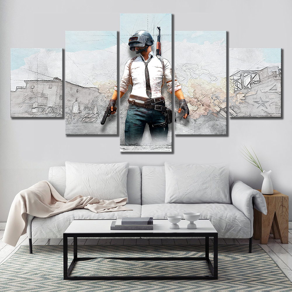 Us 1344 16 Off5 Piece Hd Drawing Painting Art Pubg Playerunknowns Battlegrounds Explosion Game Poster Pictures For Wall Decor In Painting